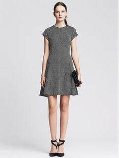 A possibility for The Girl's graduation day dress - Dot Jacquard Fit & Flare Dress from Banana Republic
