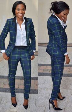 Fitted Suits for women. menswear inspired looks for women. women's fashion and style. Business Attire, Business Fashion, Work Fashion, Fashion Outfits, Womens Fashion, Woman Outfits, Plaid Suit, Plaid Jacket, Blue Plaid