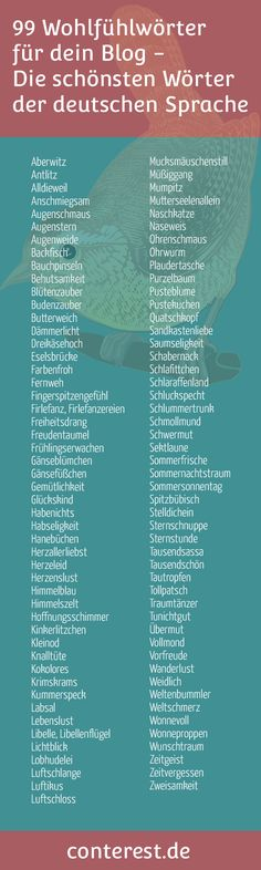 99 feel-good words - the most beautiful words of the German language - Schule Deutsch - Jokes The Words, Cool Words, Writing A Book, Writing Tips, Writing Prompts, Learn German, Most Beautiful Words, Beautiful Pictures, German Language Learning