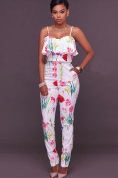White Floral Printed Spaghetti Straps Ruffled Sexy Crop Top Pants Suit Source by livesforfashun idea classy Classy Outfits, Chic Outfits, Spring Outfits, Fashion Outfits, Fashion Boots, African Attire, African Wear, African Dress, Latest African Fashion Dresses