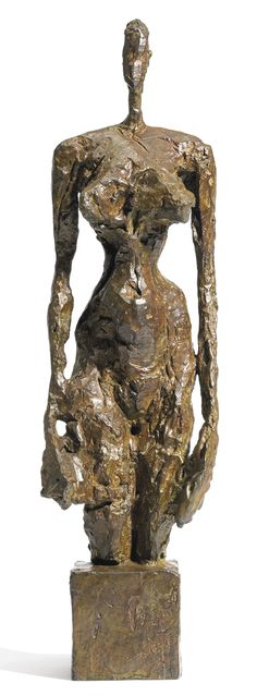 Alberto Giacometti 1901 - 1966 NU DEBOUT SUR SOCLE CUBIQUE, incised with the artist's signature and numbered 7/8; marked with the Susse Foundry, lost wax mark below the base, bronze with brown and green patina, height: 43.2cm. Executed in 1953 and cast in 1991. Sotheby's