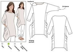 Style Arc Sewing Pattern - Kaye Tunic (Sizes 04-16) - Click for Other Sizes Available Style Arc http://www.amazon.com/dp/B019I03OJQ/ref=cm_sw_r_pi_dp_z2bbxb00E09X6