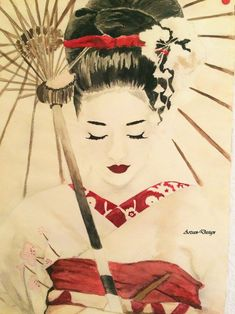 Inspired by Memoires of a Geisha. This is absolutely gorgeous. It would go well in my guest room where I'm going to have some Japanese stuff thrown in. Art Geisha, Geisha Drawing, Geisha Kunst, Japanese Drawings, Japanese Artwork, Japanese Painting, Japanese Geisha Tattoo, Japanese Watercolor, Art Chinois