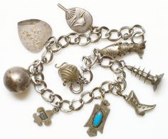 Sterling Charm Bracelet of Western, Victorian, Asian, Articulated Jointed Fish, Navajo Charm Bracelet Size 7 on Etsy, $74.00