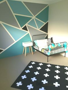 Big boys bedroom withal the IKEA minnen toddler bed frame, Adairs linen and a funky geometric wall paint job. Geometric Wall Paint, Geometric Decor, Geometric Shapes, Wall Texture Design, Toddler Bed Frame, Big Boy Bedrooms, Diy Wall Painting, Painting Designs On Walls, Bedroom Wall Designs