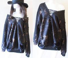 Black #LaceUp #bleached #distressed #Sweatshirt by RockncomicsLA