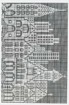 Cross Stitch House, Cross Stitch Tree, Cross Stitch Patterns, Knitting Charts, Baby Knitting, Knitting Patterns, Crochet Patterns, Tapete Doily, Fillet Crochet