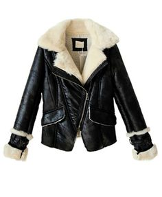 2d7c5e4d5c Black Jacket with Faux Fur Shawl Lapel and Shearling Lining Detail   Chicnova Fashion Sweater Jacket
