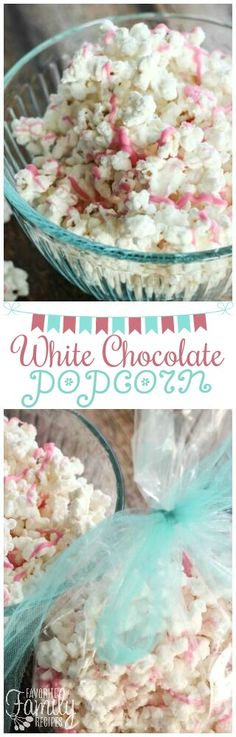 This White Chocolate Popcorn is easy to make, yet tastes gourmet! Like the popcorn from high-end candy shops or boutiques but for a fraction of the cost. via (Chocolate Shake Easy) White Chocolate Popcorn, Chocolate Candy Melts, Chocolate Party, Chocolate Shake, Chocolate Treats, Gourmet Popcorn, Popcorn Recipes, Baby Food Recipes, Snack Recipes
