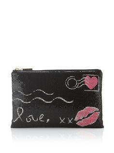 Felix Rey Women's Love Letter Mesh Clutch (Black/Neon Pink)