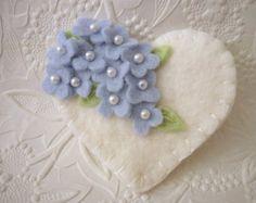 Easter Bunny Brooch Jewelry Felt Flowers Primitive Felted Wool
