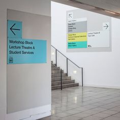 Pentagram design new directional signage for LCC Directional Signage, Wayfinding Signs, Environmental Graphic Design, Environmental Graphics, Directory Design, School Signage, Hospital Signage, Church Interior Design, Church Design