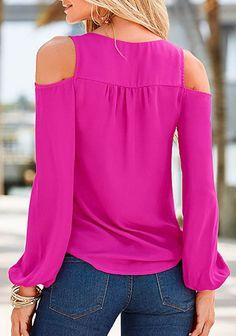 Cut Out Shoulder Long Sleeve Buttoned Shirt | button shirts for women