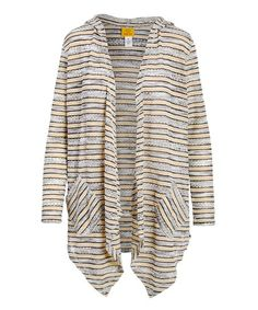 Ruby Rd. Biscuit & Taupe Stripe Pocket Hooded Open Cardigan - Women & Plus | Zulily