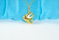 Gold fish necklace Summer necklace Fish necklace by ZoneOfElegance