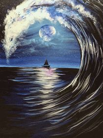 Join us at Pinot s Palette - Largo on Thu Oct 10 2019 7 for Moonlit Wave Seats are limited reserve yours today How To Make Canvas, Easy Canvas Art, Small Canvas Art, No Wave, Back Painting, Painting Canvas, Acrylic Paintings, Landscape Paintings, Christmas Paintings On Canvas