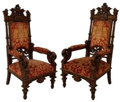 These antique throne chairs