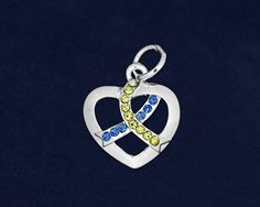 Wholesale Silver Heart Crystal Blue