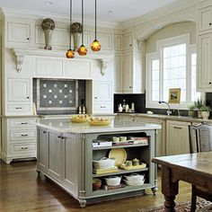 Pulling Double Duty  Kitchens often serve as an entertaining showplace and an everyday gathering place. A well-thought-out design helps a kitchen serve both functions. Here, the cabinetry and woodwork is rich and detailed. But the creamy glazed wood is casual. The island is painted a traditional hue of sage green but is accented with bright and fun kitchen accessories.