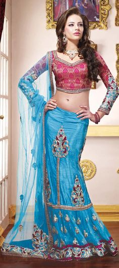 Another beautiful blue colour lehenga for wedding wears.......Specially designed for weddings.......  Available at-> http://www.indianweddingsaree.com/product/68538.html