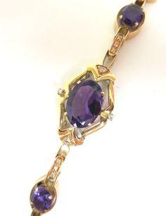 Luscious Vintage Amethyst and Diamond Bracelet