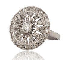 18k white gold and diamond ring #estatejewelry #estatering
