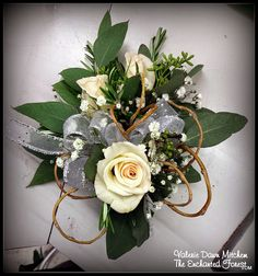 Beautiful Pin-on Corsage made with Porceliana Spray Roses, Seeded Eucalyptus, and Curly Willow with touches of Rosemary and Babies Breath and White Ribbon. #Wedding; #Corsage; #Prom; #Homecoming