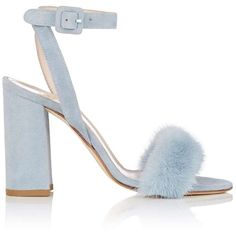 Barneys New York Women's Fur-Trimmed Suede Sandals (1.320 RON) ❤ liked on Polyvore featuring shoes, sandals, heels, zapatos, chunky-heel sandals, strap heel sandals, strap sandals, suede block heel sandals and strappy heeled sandals