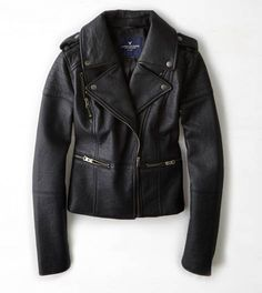 True Black AEO Quilted Vegan Leather Moto Jacket