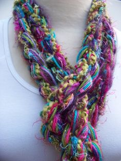 Hand Knit Scarf The Pippy CALYPSO Scarf Crochet Scarf door sewstacy, $20,00
