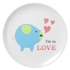 Pig in Love Designed by Chanida Party Plate