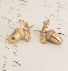 Victorian Oroide Gold Acorn Earrings, circa 1870.
