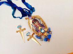 Baroque set ,the Seven Daggers Virgin, filigree crescents, pearls, rhinestones,vintage brass daggers, swarovski rectangle cristals.