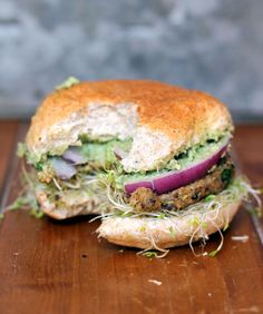 Spicy Sweet Potato Black Bean Burgers with Avocado-Cilantro Crema + Sprouts No. I'm not vegan, but the combination of foods here sounds delicious! Might have to figure something out for a bun option. Sprouts on your burger. Sprouting Sweet Potatoes, Cooking Sweet Potatoes, Carne, How To Cook Burgers, Vegetarian Recipes, Healthy Recipes, Healthy Foods, Yummy Recipes, Yummy Food