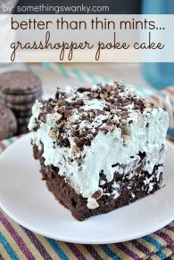 Better Than Thin Mints Grasshopper Poke Cake! I'll make this for Thanksgiving and Christmas parties!