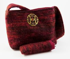 FELTED SPANISH RED Wool-Mohair Shoulder Bag / Purse / with Vintage Jewel Buckle (Ooak) from Upcycled Wool-Mohair Sweater / Eco Friendly Gift