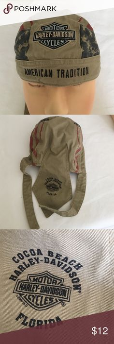 Harley Davidson skull/head wrap Harley Davidson Skull/head wrap , Cocoa Beach Harley-Davidson Motor Cycles Florida,70% cotton, 39# polyester, good condition Harley-Davidson Accessories Hats