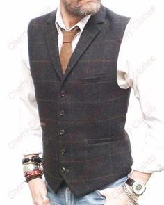 MENS CHARCOAL & BROWN CHECK COLLAR LAPEL WAISTCOAT VEST WOOL BLEND  TAILORED FIT