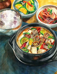 Korean soybean paste soup called 'Doenjang Jjigye' is one of my favorite dishes to eat in cold weather. It warms you right up. You can find an easy recipe in my cookbook comicbook Cook Korean! Cute Food, Yummy Food, Food Sketch, Food Cartoon, Watercolor Food, Food Painting, Food Drawing, Aesthetic Food, Food Illustrations