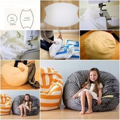 DIY Fabric Beanbag Free Sewing Patterns for Kids - DIY Tutorials - How to DIY Fabric Beanbag for Kids You are in the right place about decoration chambre Here we offe - Sewing Patterns For Kids, Sewing For Kids, Free Sewing, Diy For Kids, Fabric Patterns, Diy Puffs, Bean Bag Design, Diy Bean Bag, Diy Tumblr