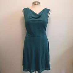 Moon Dress - 2X - Teal Knit Design - Cowl Neckline - A Line - Tank Sleeve  #Moon