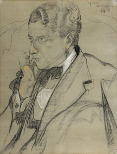 Stanisław Ignacy Witkiewicz | Portrait of a Man, 1918 | charcoal ...