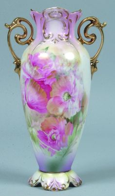 """RS Prussia Vase, 10.5""""h.; Mold 905; FD 9 on white body with pink, blue green and yellow accents, gold highlights to mold features"""