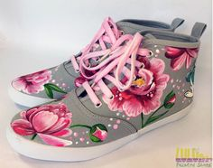 Casual Fashion Shoes for girls - Hand Painted Sneakers with peonies - Facebook: Lulush.Shoes
