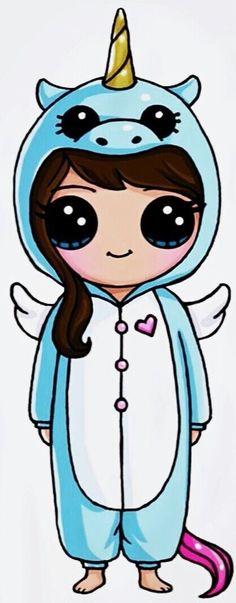 Draw So Cute Unicorn Girl Love Dessin kawaii, Kawaii licorne draw so cute - Drawing Tips Kawaii Girl Drawings, Cute Cartoon Drawings, Cute Girl Drawing, Cartoon Cartoon, Disney Drawings, Easy Drawings, Kawaii Disney, Kawaii Anime, Chibi