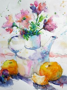 """Hand Painted Original Watercolour by Nora MacPhail. Still life with juicy clementines and fresh purple and pink flowers, floral, fruit -  $70/8""""x10""""painting"""
