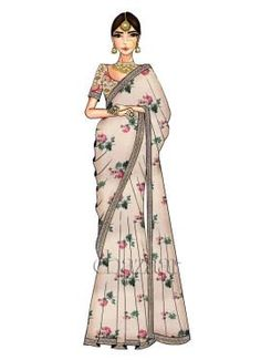 Fashion Design Drawing Cream Digital Printed Saree N Off White Blouse - Dress Design Sketches, Fashion Design Sketchbook, Fashion Design Drawings, Fashion Sketches, Fashion Design Portfolios, Wedding Dress Sketches, Fashion Drawing Dresses, Fashion Illustration Dresses, Dress Illustration