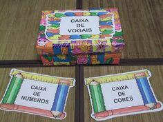 Ideia criativa para trabalhar com vogais, números e cores, do meu blog Ponto de Encontro da Pedagogia