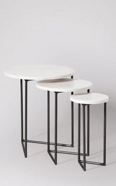 Streep Side Table in Marble & Black. Joy Furniture, Steel Furniture, Furniture Design, Marble Interior, Monochrome Interior, Black Side Table, White Side Tables, Small Accent Tables, Nesting Tables
