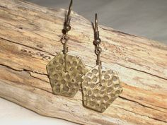 Hammered Metal Earrings / Antique Brass / Drop / Dangle by FOLIOSA, $10.00